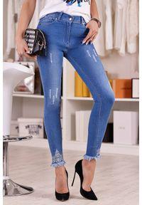 Niebieskie jeansy IVET casualowe, na co dzień, z aplikacjami, z podwyższonym stanem