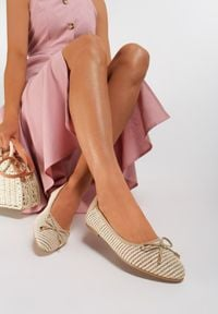 Renee - Jasnobeżowe Balerinki Anaviane. Nosek buta: okrągły. Kolor: beżowy. Materiał: koronka. Szerokość cholewki: normalna. Wzór: aplikacja
