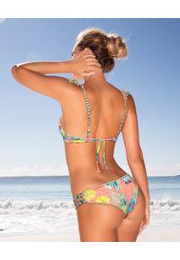 DEL MAAR - Dół od bikini. Kolor: zielony. Materiał: materiał, koronka. Wzór: kwiaty, koronka