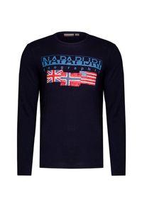 Niebieski t-shirt Napapijri z długim rękawem, w kolorowe wzory, długi, z okrągłym kołnierzem