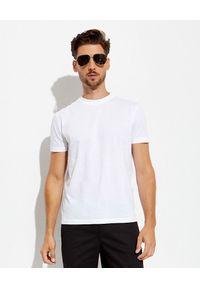 prada - PRADA - Biały bawełniany t-shirt. Kolor: biały. Materiał: bawełna. Styl: klasyczny