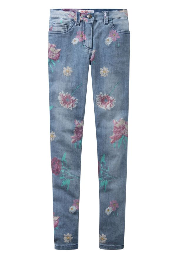 """Dżinsy dziewczęce w kwiaty bonprix niebieski """"bleached"""" z nadrukiem"""