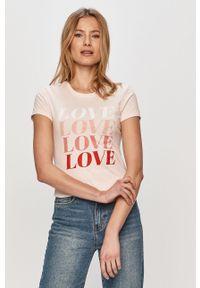 Różowa bluzka only na co dzień, z nadrukiem, casualowa
