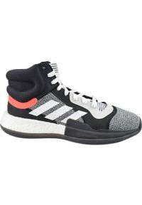 Szare buty do koszykówki Adidas w kolorowe wzory, z cholewką