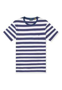 Ralph Lauren - RALPH LAUREN - T-shirt w paski Custom Slim Fit. Typ kołnierza: polo. Kolor: niebieski. Materiał: bawełna. Wzór: paski