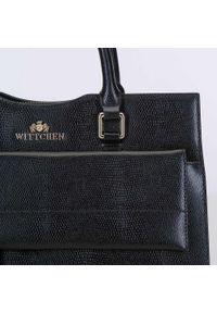 Wittchen - Kuferek ze skóry z wysuniętą kieszenią. Kolor: czarny. Wzór: haft. Dodatki: z haftem. Materiał: skórzane. Styl: elegancki