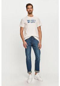 Biały t-shirt Levi's® na co dzień, casualowy, z nadrukiem