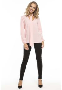 Różowa bluzka z długim rękawem Tessita z dekoltem w serek, elegancka