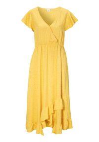 Żółta długa sukienka Cream kopertowa, na wiosnę