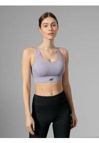 4f - Biustonosz do biegania. Kolor: fioletowy. Sport: fitness