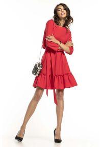 Tessita - Malinowa Lekka Rozkloszowana Sukienka z Falbanką. Kolor: różowy. Materiał: poliester, elastan