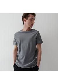 Reserved - Bawełniany t-shirt - Turkusowy. Kolor: turkusowy. Materiał: bawełna
