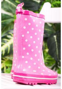 Casu - różowe kalosze w groszki casu b646. Kolor: różowy. Wzór: grochy