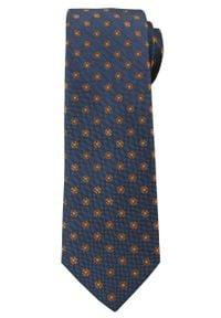 Stylowy Krawat Męski w Groszki i Kwiatki -6,5cm- Chattier, Granatowo-Brązowy. Kolor: niebieski. Materiał: tkanina. Wzór: grochy. Styl: elegancki