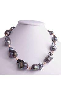 Braccatta - REMY ROSE naszyjnik ogromne perły barokowe czarne kolia. Materiał: srebrne, złote. Kolor: czarny. Wzór: aplikacja. Kamień szlachetny: perła
