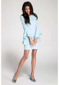Nommo - Błękitna Ołówkowa Krótka Sukienka Asymetryczną Falbanką. Kolor: niebieski. Materiał: wiskoza, poliester. Typ sukienki: asymetryczne, ołówkowe. Długość: mini