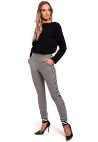 MOE - Szare Dzianinowe Spodnie z Lampasem i Ściągaczami. Kolor: szary. Materiał: dzianina