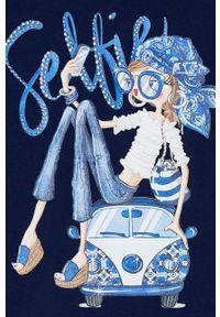 Niebieska bluzka z krótkim rękawem Mayoral krótka, casualowa