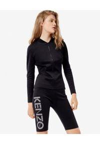 Kenzo - KENZO - Czarne szorty Biker z logo. Stan: podwyższony. Kolor: czarny. Materiał: materiał. Wzór: haft, nadruk. Styl: sportowy