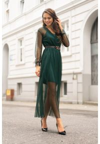 Merribel - Elegancka Maxi Sukienka z Paskiem - Ciemnozielona. Kolor: zielony. Materiał: poliester, elastan. Styl: elegancki. Długość: maxi