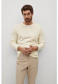 Biały sweter Mango Man gładki, z długim rękawem, długi, casualowy