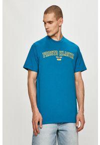 Niebieski t-shirt Prosto. z nadrukiem, na co dzień, casualowy
