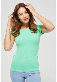 Zielona bluzka MOODO krótka, z krótkim rękawem, z dekoltem w łódkę