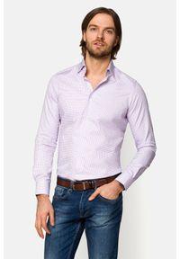 Lancerto - Koszula Fioletowa w Kratę Panama. Kolor: fioletowy. Materiał: bawełna, tkanina, jeans. Wzór: ze splotem