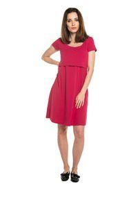 e-margeritka - Sukienka ciążowa sportowa bawełniana malinowa - 40. Okazja: na co dzień. Kolekcja: moda ciążowa. Kolor: różowy. Materiał: bawełna. Typ sukienki: sportowe. Styl: sportowy