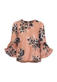 Różowa bluzka Happy Holly w kwiaty, z falbankami