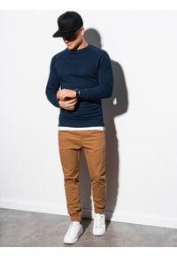 Ombre Clothing - Bluza męska bez kaptura B1217 - granatowa - XXL. Typ kołnierza: bez kaptura. Kolor: niebieski. Materiał: poliester, bawełna