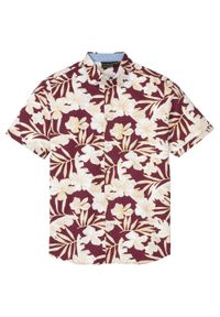 Koszula z krótkim rękawem w hawajski deseń bonprix jeżynowo-biały w kwiatowy deseń. Kolor: fioletowy. Długość rękawa: krótki rękaw. Długość: krótkie. Wzór: kwiaty