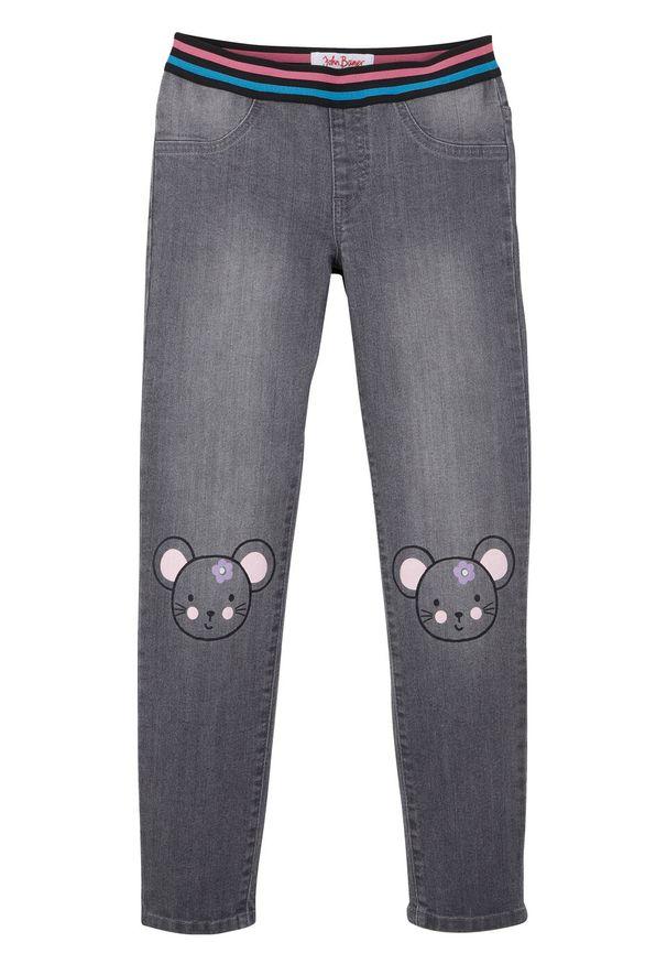 Szare jeansy bonprix z nadrukiem, na co dzień