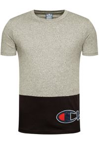 Champion T-Shirt Colour Block Wraparound Logo 214208 Szary Comfort Fit. Kolor: szary