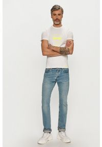 Karl Lagerfeld - T-shirt. Okazja: na co dzień. Kolor: biały. Wzór: aplikacja. Styl: casual
