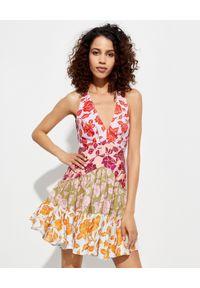 ZIMMERMANN - Sukienka z łączonych materiałów. Kolor: czerwony. Materiał: materiał. Wzór: kwiaty. Długość: mini