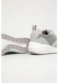 Szare buty sportowe Tamaris z okrągłym noskiem, z cholewką, na sznurówki