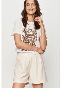 Biała bluzka Answear Lab na co dzień, z nadrukiem, wakacyjna