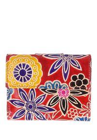 Cedar - Portfel damski w kwiaty czerwony. Kolor: czerwony. Wzór: kwiaty