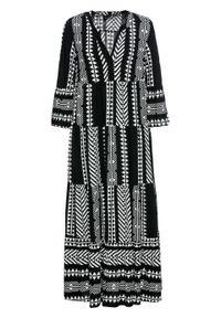 Długa sukienka z nadrukiem bonprix czarno-biel wełny wzorzysty. Kolor: czarny. Materiał: wełna. Wzór: nadruk. Długość: maxi