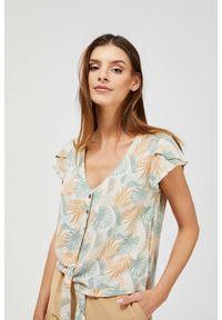 MOODO - Koszula z roślinnym printem. Materiał: wiskoza. Długość rękawa: krótki rękaw. Długość: krótkie. Wzór: nadruk