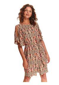 Pomarańczowa sukienka TOP SECRET z krótkim rękawem, w kolorowe wzory, na lato