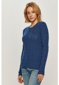 Niebieski sweter Polo Ralph Lauren melanż, długi