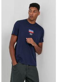 Levi's® - Levi's - T-shirt bawełniany. Okazja: na co dzień, na spotkanie biznesowe. Kolor: niebieski. Materiał: bawełna. Wzór: nadruk. Styl: biznesowy, casual