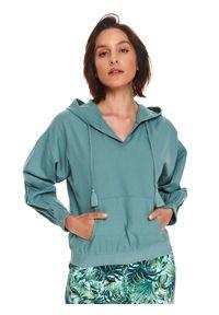 TOP SECRET - Nierozpinana bluza damska z lnem. Kolor: zielony. Materiał: len. Długość rękawa: długi rękaw. Długość: długie. Styl: klasyczny