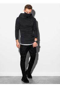 Ombre Clothing - Bluza męska z kapturem B1012 - czarna - XXL. Typ kołnierza: kaptur. Kolor: czarny. Materiał: bawełna, dzianina, poliester. Styl: elegancki #5