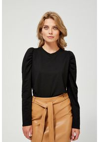 MOODO - Elegancka bluza z marszczeniem. Typ kołnierza: bez kaptura. Materiał: elastan, bawełna, poliester. Długość rękawa: długi rękaw. Długość: długie. Wzór: gładki. Styl: elegancki