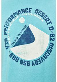 Niebieski t-shirt Tom Tailor Denim z nadrukiem, casualowy, na co dzień