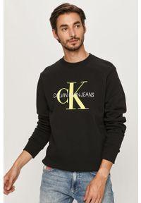 Czarna bluza nierozpinana Calvin Klein Jeans na co dzień, casualowa, z nadrukiem, z okrągłym kołnierzem