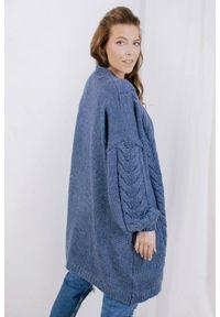 Niebieski sweter Lemoniade ze splotem, z długim rękawem, długi, wizytowy